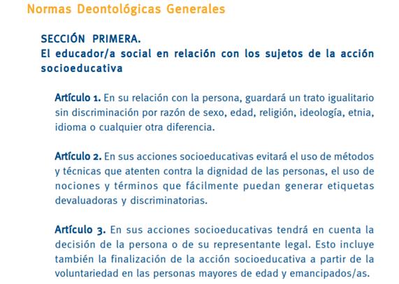 Extracto código deontológico educación social